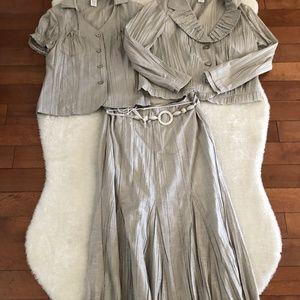 Melanie Lyne Grey 3 Piece Matching Skirt Set